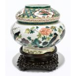 A Chinese Famille Verte Wucai porcelain gourd shaped vase, the upper section painted with four