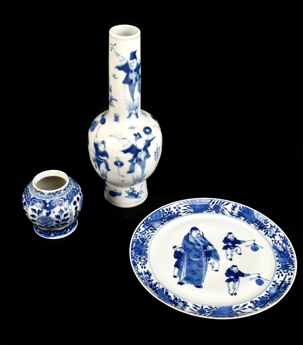 A 19th century Chinese blue and white porcelain vase with swollen body and cyclindrical neck
