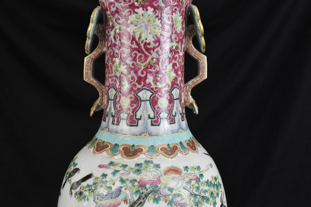 A large 19th century Chinese porcelain twin handled Famille Rose vase with flared neck with - Image 16 of 24