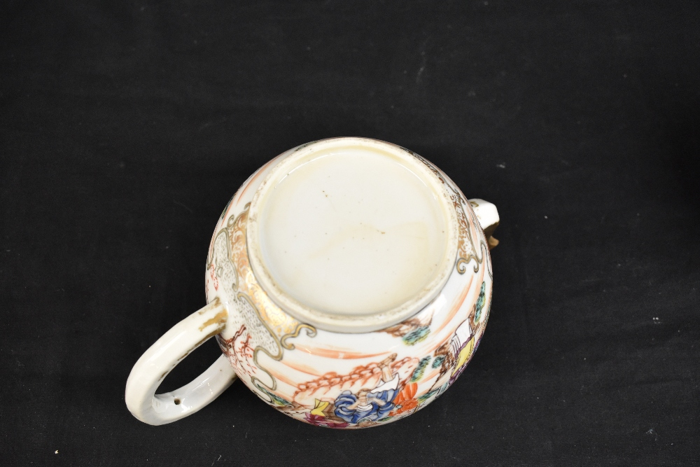 Three 18th century Chinese Famille Rose bullet shaped teapots including an example with figures - Image 9 of 10