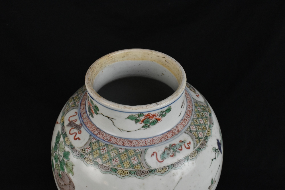 A 19th century Chinese Famille Verte Wucai porcelain temple jar and cover painted with a band of - Image 5 of 33
