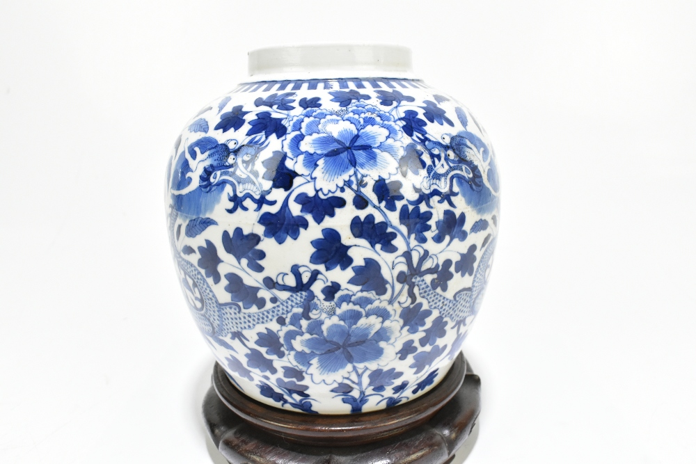 A late 19th century Chinese blue and white porcelain ginger jar decorated with a four claw dragon - Image 2 of 10
