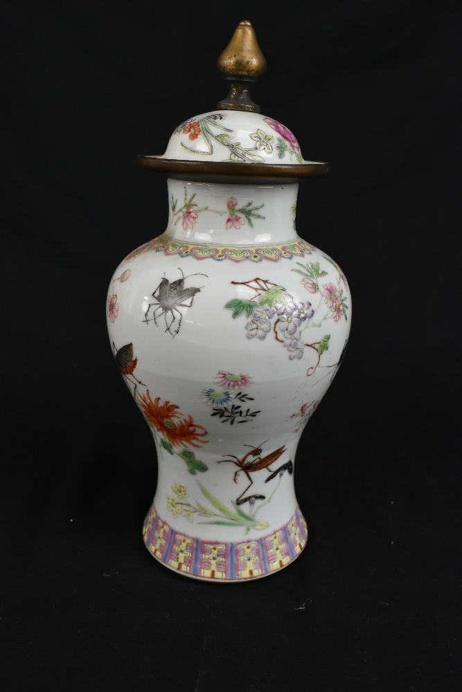 A pair of early 20th century Chinese porcelain Famille Rose temple jars and covers painted with - Image 10 of 16