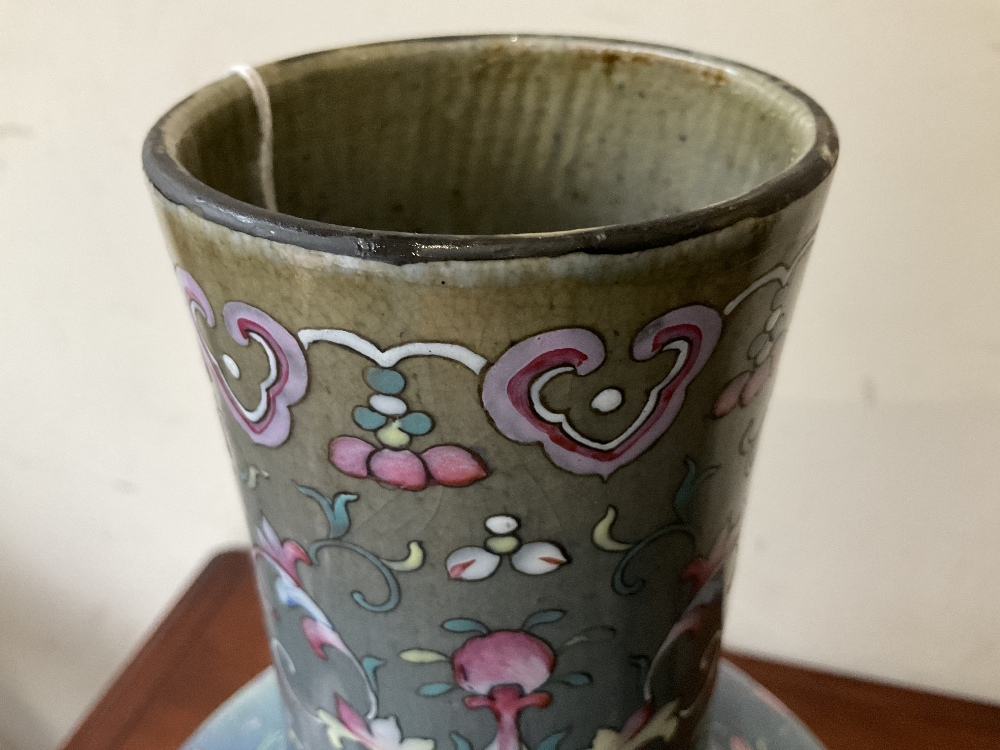 A large 18th century Chinese flambé vase, later enamel painted with stylised floral sprays, base - Image 18 of 18