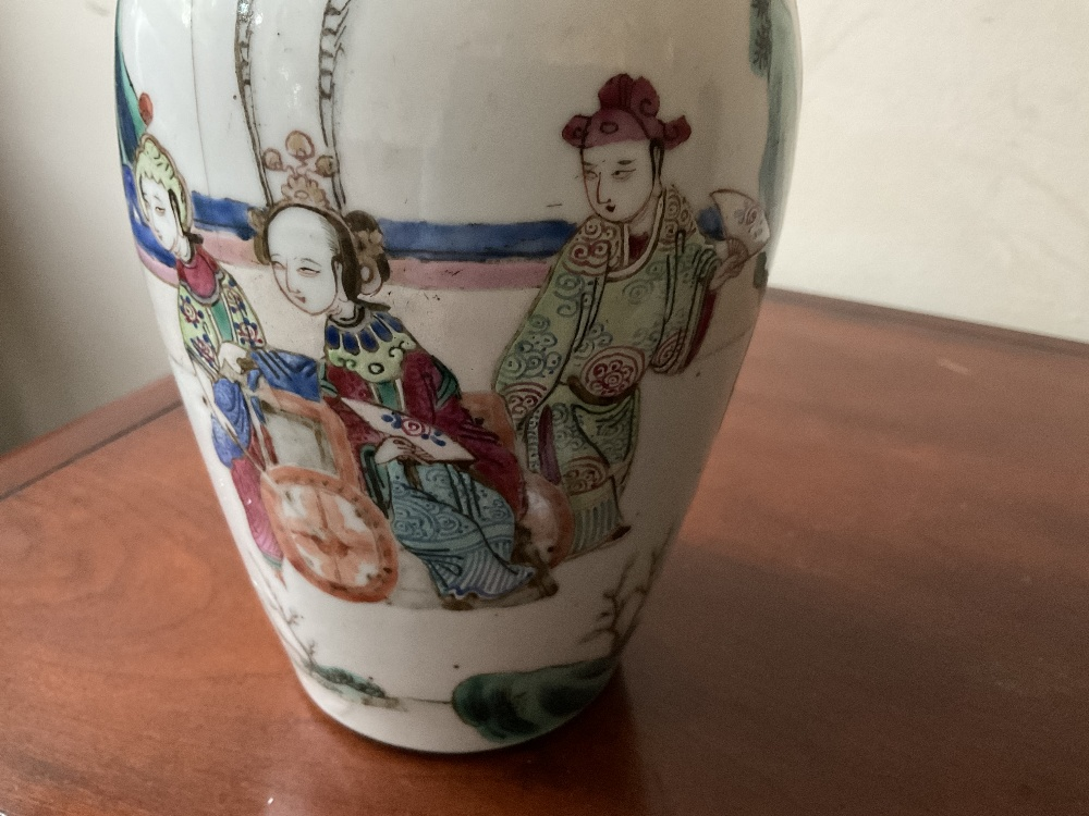 A late 19th century Chinese Famille Verte vase decorated in enamels with figures in landscape - Image 30 of 32