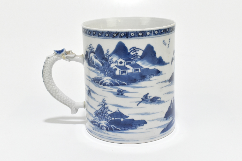 An 18th century Chinese Export blue and white mug decorated with a landscape scene and applied - Image 2 of 13