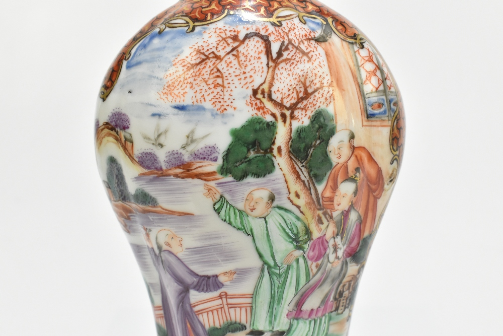 An 18th century Chinese Famille Rose porcelain vase painted in panels with elders in landscape - Image 4 of 15