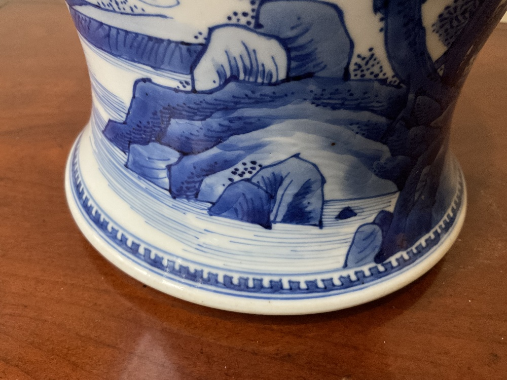 A 18th century Chinese Export blue and white vase with associated cover and stand decorated with - Image 15 of 21