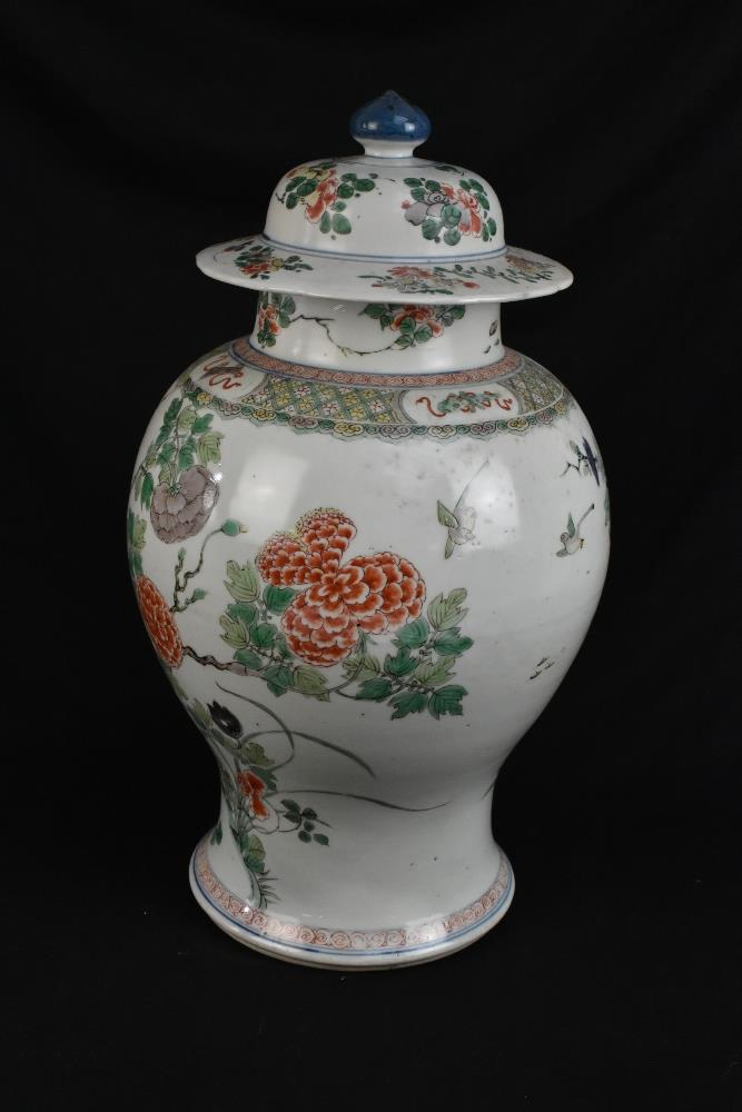 A 19th century Chinese Famille Verte Wucai porcelain temple jar and cover painted with a band of - Image 4 of 33
