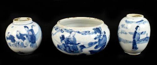 An 18th / 19th century Chinese blue and white spherical bowl, decorated throughout with figures in a