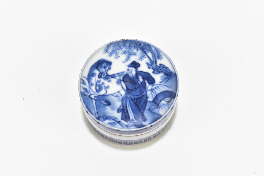 A 19th century Chinese porcelain trinket box and cover of circular form, the cover painted with an - Image 2 of 4