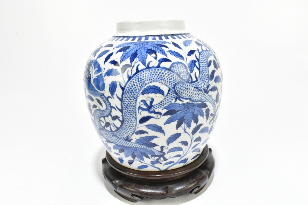 A late 19th century Chinese blue and white porcelain ginger jar decorated with a four claw dragon - Image 6 of 10
