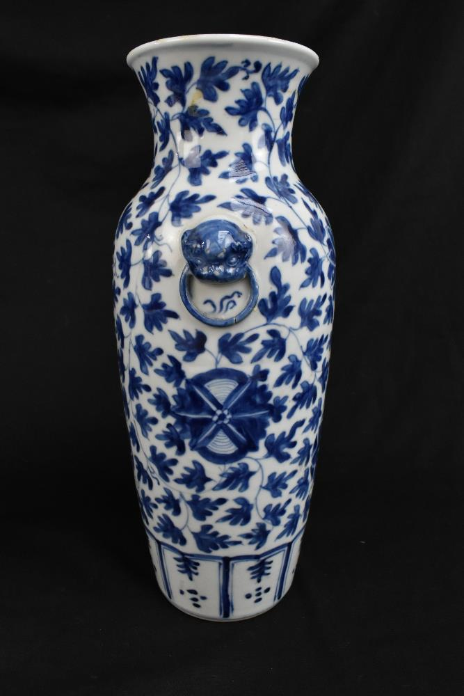 A pair of 19th century Chinese blue and white porcelain vases each with moulded handles representing - Image 10 of 14