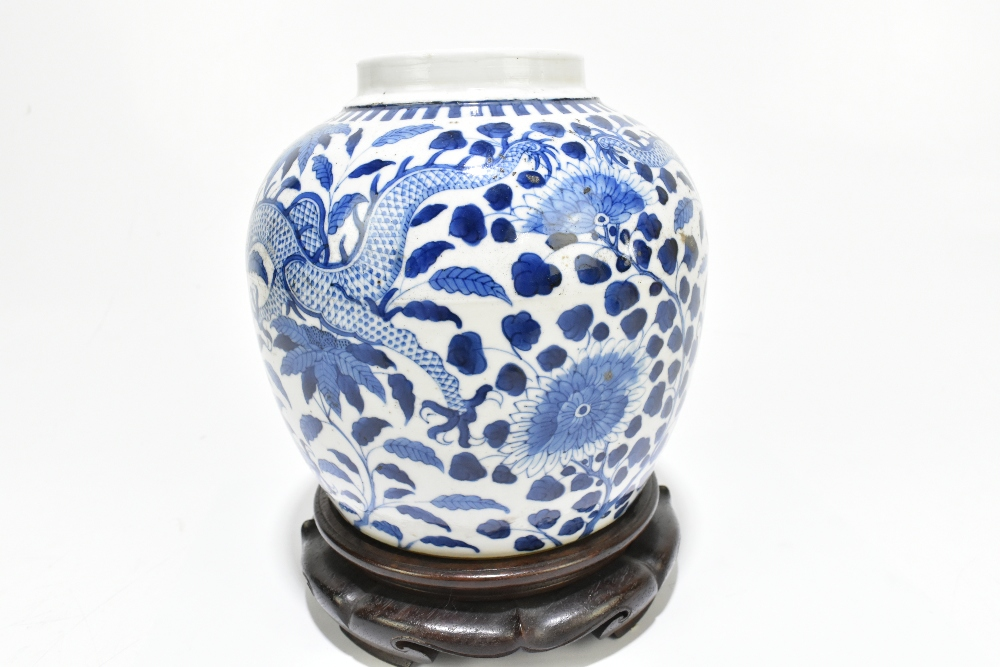 A late 19th century Chinese blue and white porcelain ginger jar decorated with a four claw dragon - Image 5 of 10