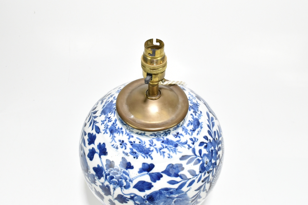 A 19th century Chinese blue and white porcelain vase converted to a table lamp, painted with a - Image 7 of 9