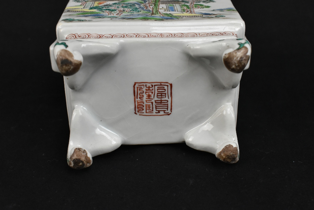 A 19th century Chinese Famille Verte Wucai porcelain koro and cover, the cover moulded with a shishi - Image 9 of 14