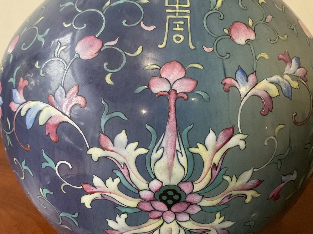 A large 18th century Chinese flambé vase, later enamel painted with stylised floral sprays, base - Image 17 of 18