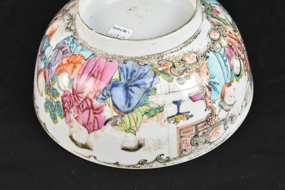 An 18th century Chinese Export Famille Rose footed bowl painted in enamels with figures in landscape - Image 9 of 11