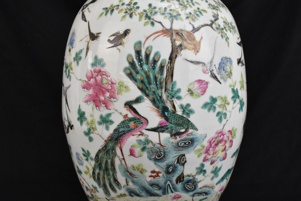 A large 19th century Chinese porcelain twin handled Famille Rose vase with flared neck with - Image 3 of 24