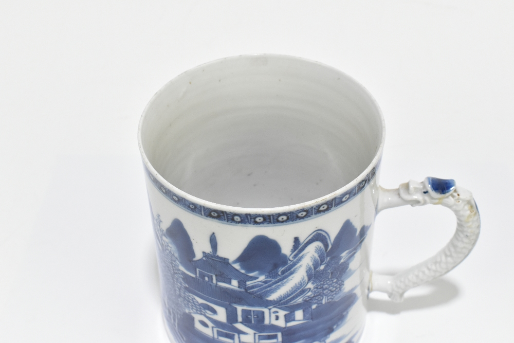 An 18th century Chinese Export blue and white mug decorated with a landscape scene and applied - Image 6 of 13
