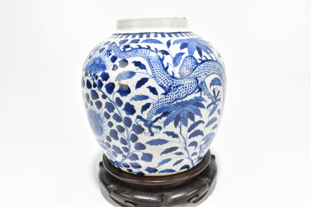A late 19th century Chinese blue and white porcelain ginger jar decorated with a four claw dragon - Image 4 of 10