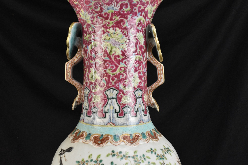 A large 19th century Chinese porcelain twin handled Famille Rose vase with flared neck with - Image 5 of 24