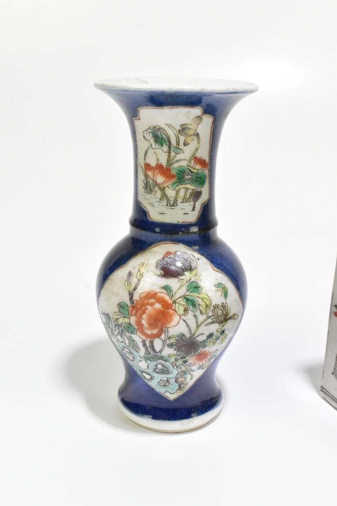 A 19th century Chinese Famille Verte Wucai porcelain vase of square form painted with objects, - Image 2 of 15