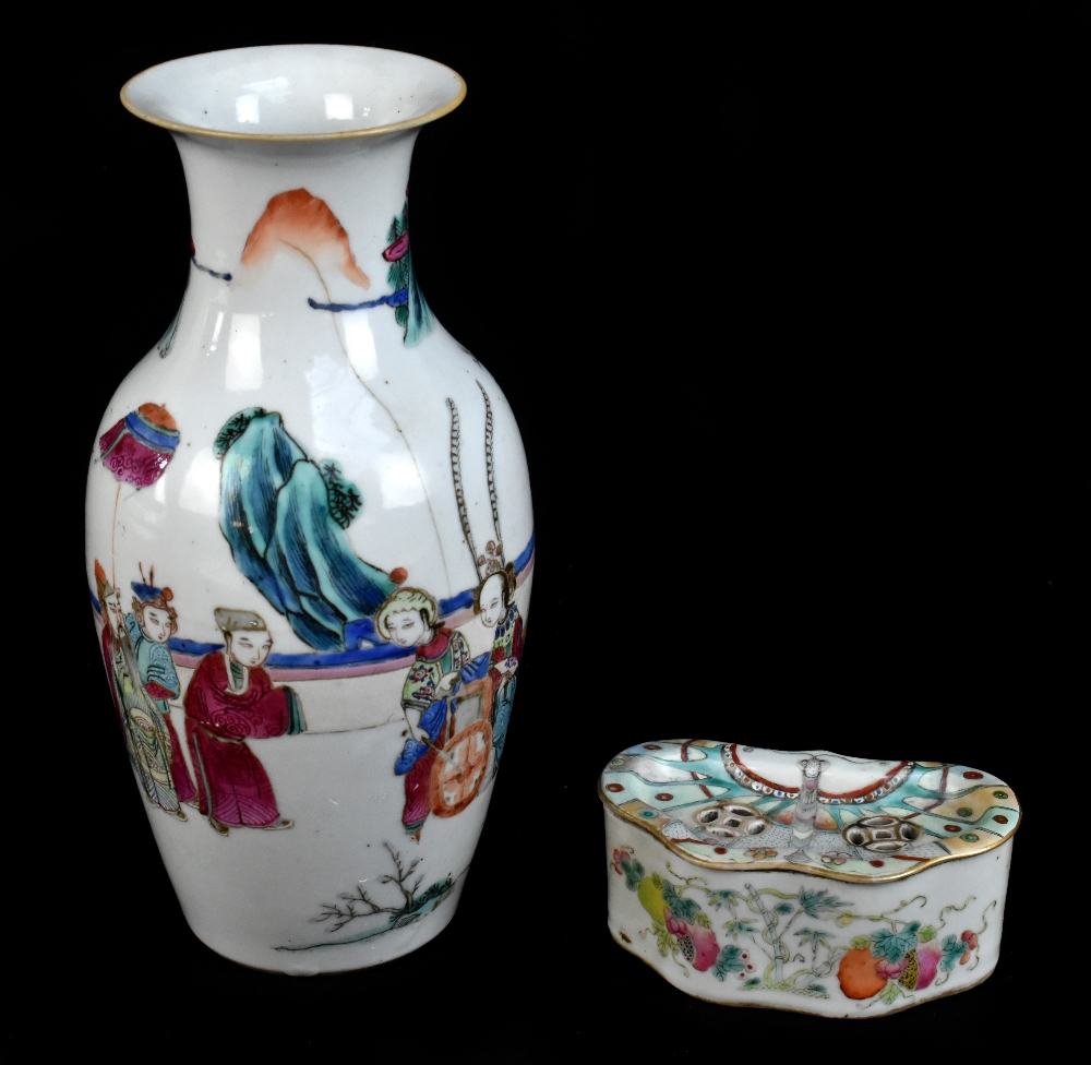A late 19th century Chinese Famille Verte vase decorated in enamels with figures in landscape