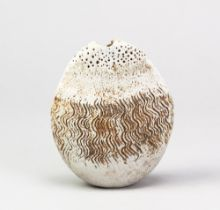 ALAN WALLWORK (1931-2019); a stoneware pebble with incised decoration, incised AW mark, height 13.