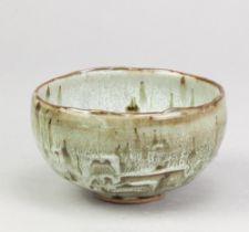ALEX SHIMWELL (born 1980); a small stoneware bowl with irregular rim covered in dolomite glaze,