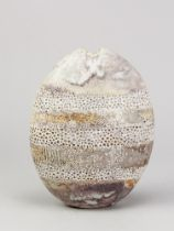 ALAN WALLWORK (1931- 2019); a stoneware pebble with impressed decoration forming horizontal bands