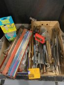 WELD RODS TRAY, HACK SAW, FILES, BIRD FEEDER, NAILS
