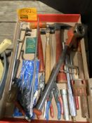 CIGAR BOX W/HARDWARE, HATCHET, HAND SAW, TREE SAW, OIL PAN, HAMMER, PIPE THREADER, SNAP RING PLIERS,