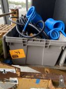 TOTE W/AIRE HOSES, ELECTRIC STAPLER, AC VOLT TESTER