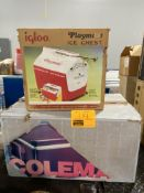 IGLOO AND COLEMAN COOLERS IN BOX