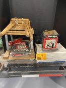 TOYOTA SPARK PLUGS, ROLL AROUNDS STOOL, MUD FLAPS, EMPTY TOOL BOX, PIONEER RADIO