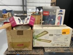 BRAND NEW CEILING FAN IN BOX, HEATER, OUTDOOR TIMERS, OUTDOOR LIGHTS, WINDOW SHADE