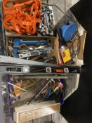 DROP LIGHT, WIRE CUTTERS, EYE BOLTS, LEVEL, OIL CAN WRENCH, REMINGTON POWER HAMMER, AND MORE