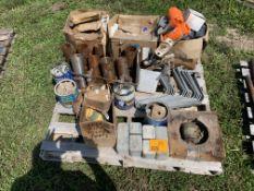 PALLET OF METAL BRACKETS, FITTINGS, PVC FITTINGS, MISC