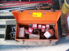 TOLL BOX FULL OF PISTON & HONDA PARTS, CLAMPS