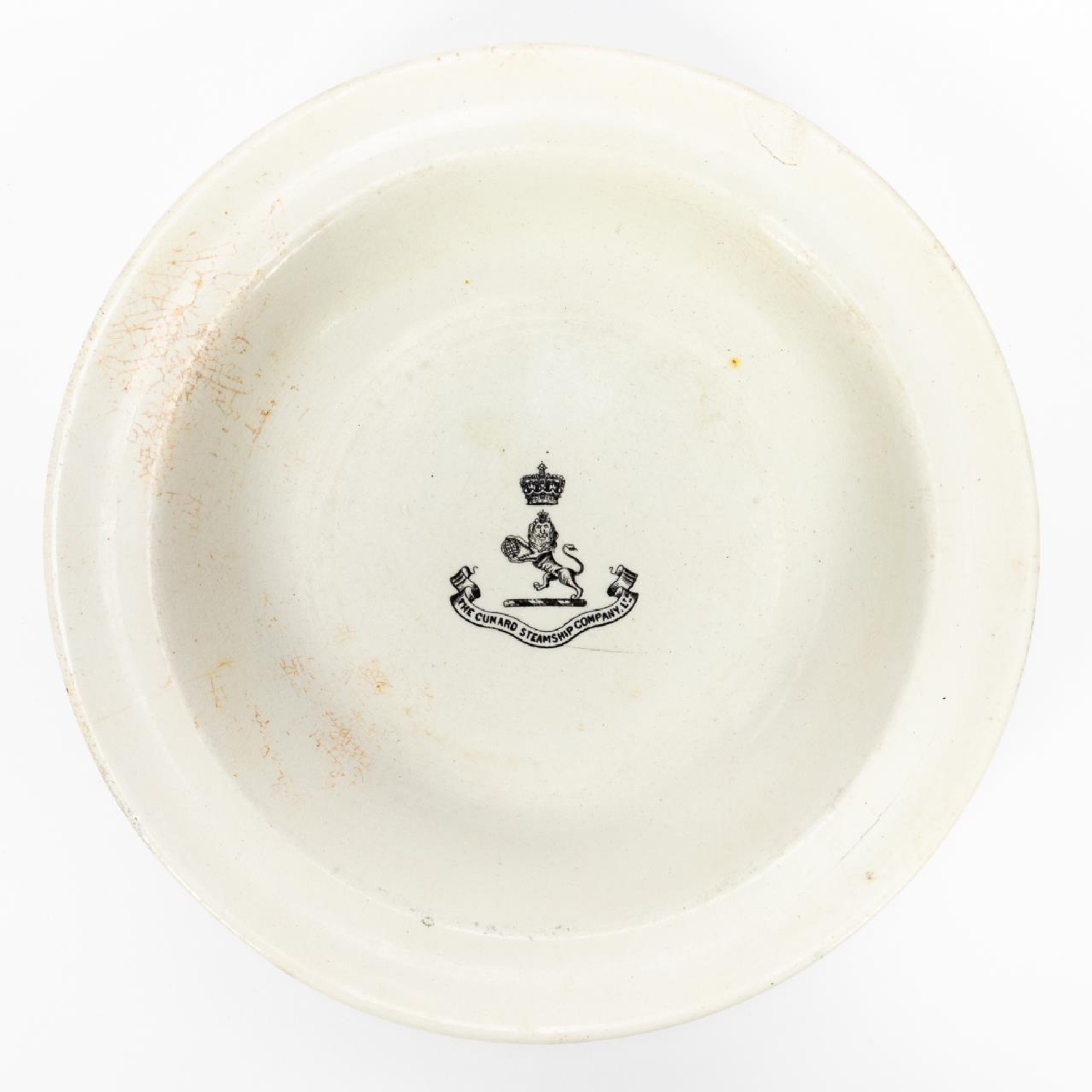 RMS CARPATHIA, SALVAGED THIRD CLASS BOWL WITH LOGO