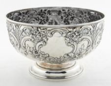 VICTORIAN HARRIS BROS. STERLING SILVER PUNCH BOWL