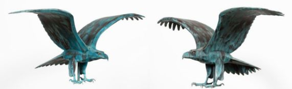 PAIR, BARRY NORLING, COPPER EAGLE SCULPTURES