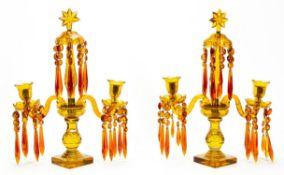 PAIR, 19TH C AMBER TWO LIGHT GIRANDOLES