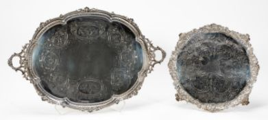 2 PCS, ENGLISH SILVERPLATE FOOTED SERVING TRAYS