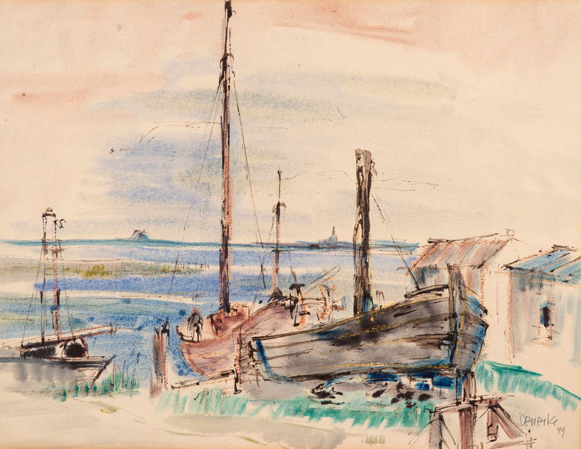 Walter Denecke – Bootswerft. Zingst a. d. Darß. 1949.