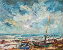 Albert Klatt – Fischerboote am Strand von Hiddensee. 1930er Jahre.