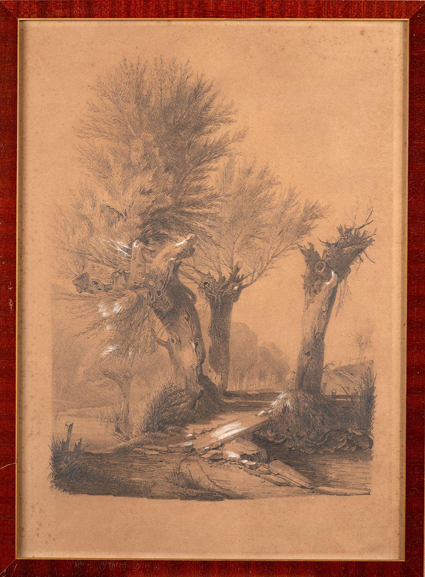 Louis Douzette – Landschaft mit Bachlauf und kleiner Brücke. um 1860. - Image 2 of 3