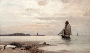Konrad Alexander Müller–Kurzwelly – Fischerboot im Abendlicht. um 1890.