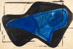 Hermann Glöckner – Blaue Form in schwarzer Fläche.